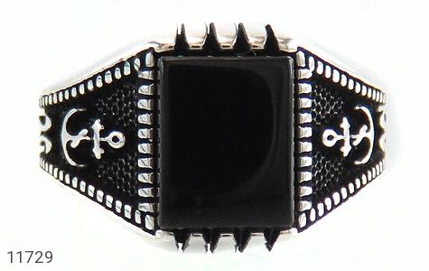 انگشتر عقیق سیاه طرح ناخدا مردانه - تصویر 2