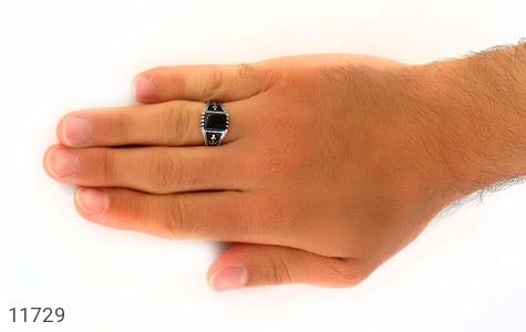 انگشتر عقیق سیاه طرح ناخدا مردانه - عکس 7