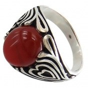 انگشتر عقیق قرمز طرح قلب مردانه