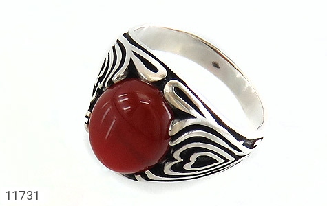 انگشتر عقیق قرمز طرح قلب مردانه - عکس 1