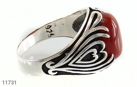 انگشتر عقیق قرمز طرح قلب مردانه - عکس 3