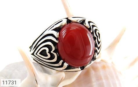 انگشتر عقیق قرمز طرح قلب مردانه - عکس 5