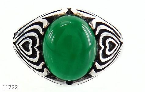 انگشتر عقیق سبز طرح قلب مردانه - تصویر 2