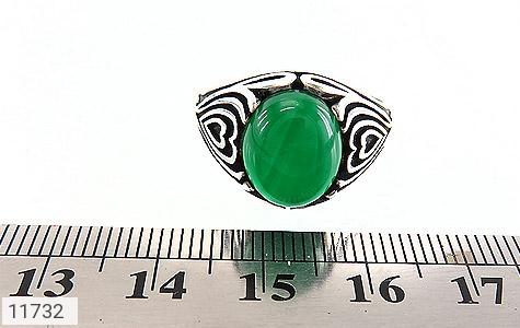 انگشتر عقیق سبز طرح قلب مردانه - تصویر 6