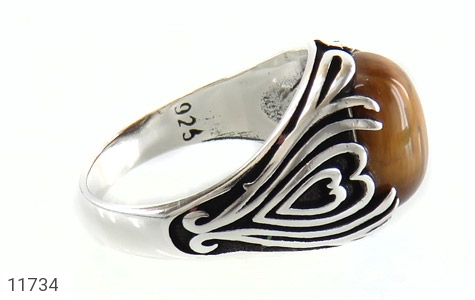 انگشتر چشم ببر طرح قلب مردانه - عکس 3