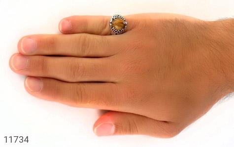 انگشتر چشم ببر طرح قلب مردانه - عکس 7