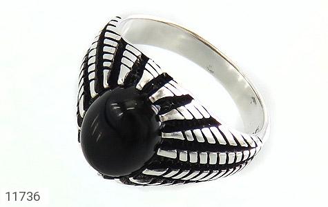انگشتر عقیق سیاه دورچنگ جذاب مردانه - عکس 1