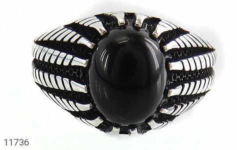 انگشتر عقیق سیاه دورچنگ جذاب مردانه - تصویر 2