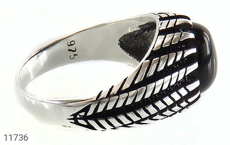 انگشتر عقیق سیاه دورچنگ جذاب مردانه - عکس 3