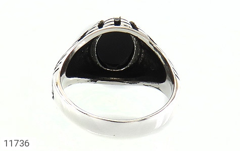 انگشتر عقیق سیاه دورچنگ جذاب مردانه - تصویر 4