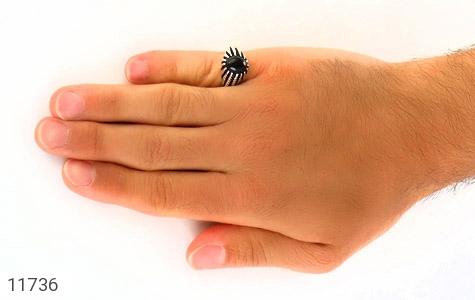 انگشتر عقیق سیاه دورچنگ جذاب مردانه - عکس 7