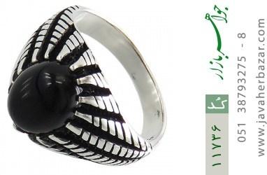 انگشتر عقیق سیاه دورچنگ جذاب مردانه - کد 11736