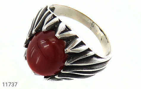 انگشتر عقیق قرمز دورچنگ مردانه - عکس 1