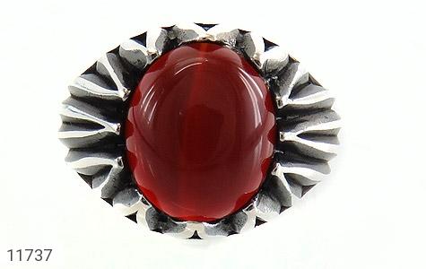 انگشتر عقیق قرمز دورچنگ مردانه - تصویر 2