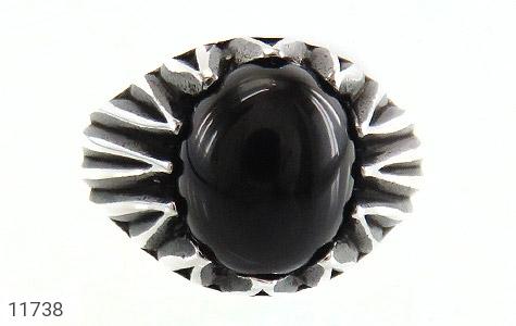 انگشتر عقیق سیاه دورچنگ مردانه - تصویر 2