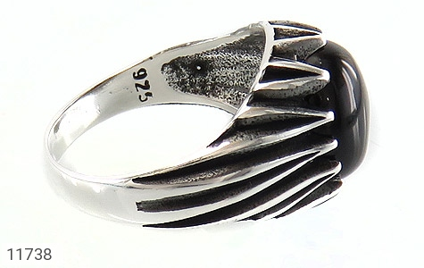 انگشتر عقیق سیاه دورچنگ مردانه - عکس 3