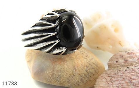 انگشتر عقیق سیاه دورچنگ مردانه - عکس 5