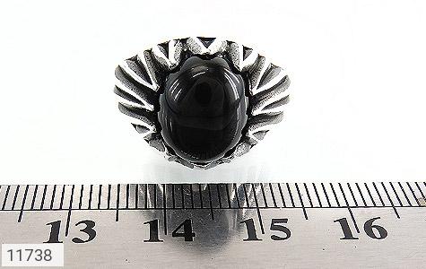 انگشتر عقیق سیاه دورچنگ مردانه - تصویر 6
