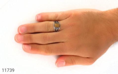 انگشتر چشم ببر طرح سیاه قلم مردانه - عکس 7