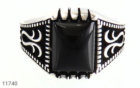 انگشتر عقیق سیاه طرح چهارگوش مردانه - تصویر 2
