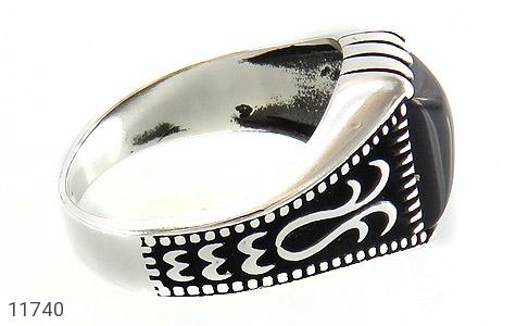 انگشتر عقیق سیاه طرح چهارگوش مردانه - عکس 3