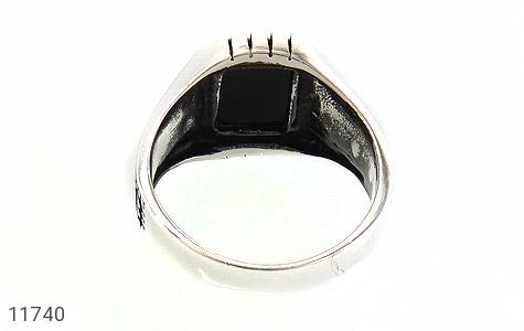 انگشتر عقیق سیاه طرح چهارگوش مردانه - تصویر 4