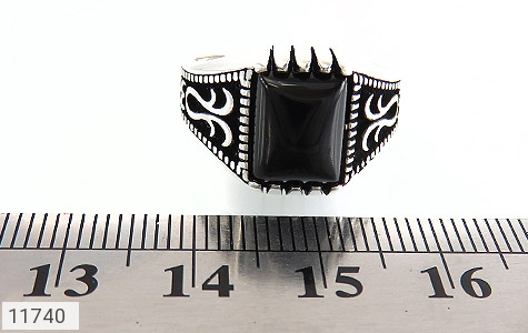 انگشتر عقیق سیاه طرح چهارگوش مردانه - تصویر 6