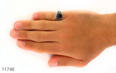 انگشتر عقیق سیاه طرح چهارگوش مردانه - عکس 7