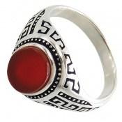 انگشتر عقیق قرمز طرح ورساچه مردانه