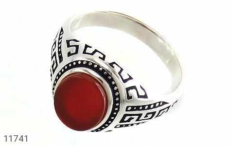 انگشتر عقیق قرمز طرح ورساچه مردانه - عکس 1