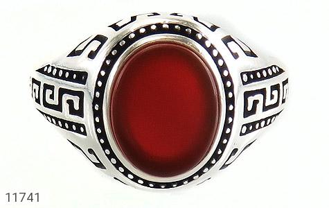 انگشتر عقیق قرمز طرح ورساچه مردانه - تصویر 2