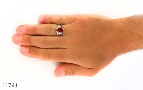 انگشتر عقیق قرمز طرح ورساچه مردانه - عکس 7