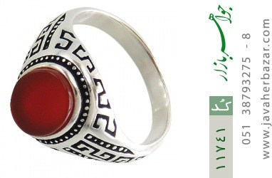 انگشتر عقیق قرمز طرح ورساچه مردانه - کد 11741