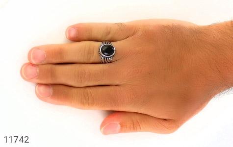 انگشتر عقیق سیاه رکاب جذاب مردانه - عکس 7