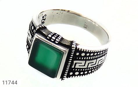 انگشتر عقیق سبز طرح ورساچه مردانه - عکس 1