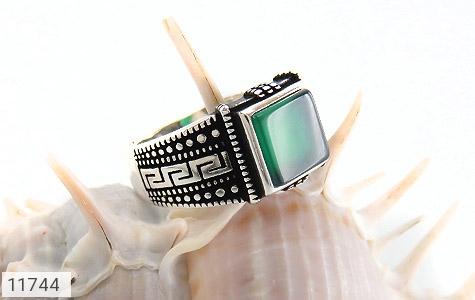 انگشتر عقیق سبز طرح ورساچه مردانه - عکس 5