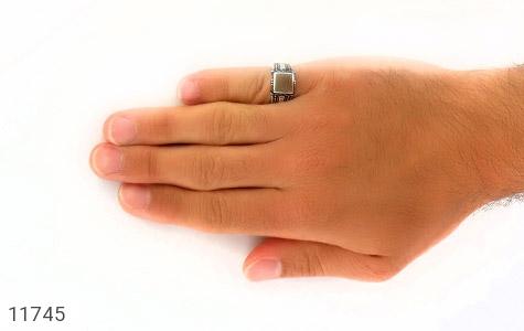 انگشتر عقیق طرح هاشوری مردانه - عکس 7