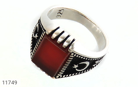 انگشتر عقیق قرمز سیاه قـلم مردانه - عکس 1