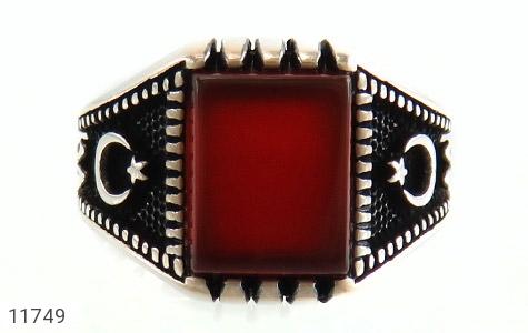 انگشتر عقیق قرمز سیاه قـلم مردانه - تصویر 2