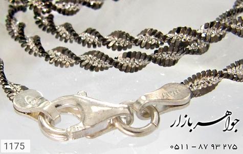 زنجیر نقره ایتالیایی سیاه قلم - عکس 1