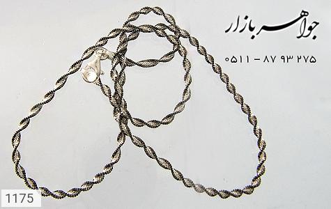 زنجیر نقره ایتالیایی سیاه قلم - عکس 3