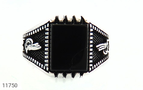 انگشتر عقیق سیاه چهار گوش مردانه - تصویر 2