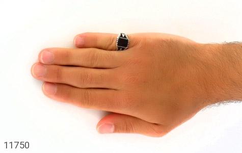 انگشتر عقیق سیاه چهار گوش مردانه - عکس 7