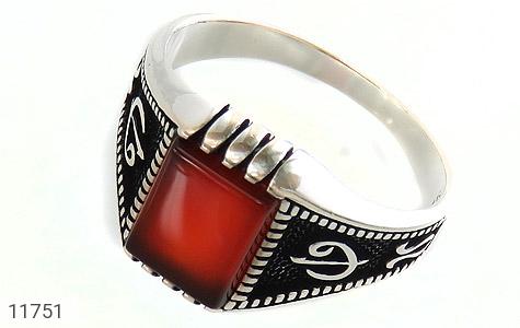 انگشتر عقیق قرمز کلاسیـک مردانه - عکس 1