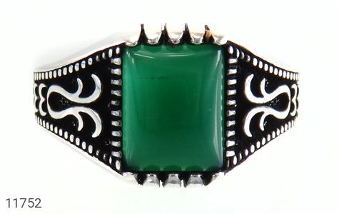 انگشتر عقیق سبز چهارگوش مردانه - تصویر 2