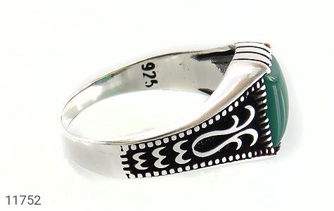 انگشتر عقیق سبز چهارگوش مردانه - عکس 3