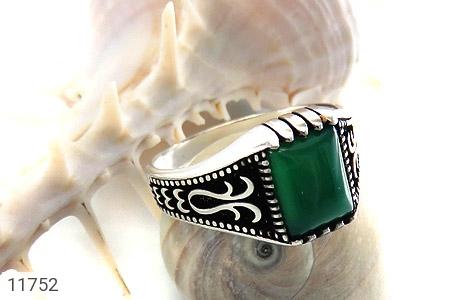 انگشتر عقیق سبز چهارگوش مردانه - عکس 5