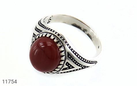انگشتر عقیق قرمز برجسته مردانه - عکس 1