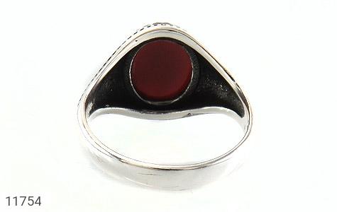 انگشتر عقیق قرمز برجسته مردانه - تصویر 4