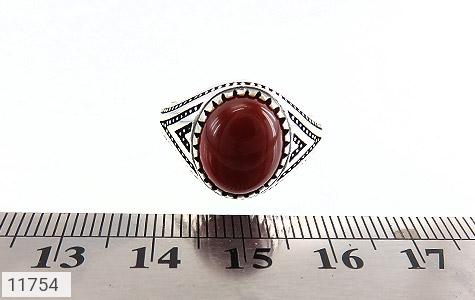 انگشتر عقیق قرمز برجسته مردانه - تصویر 6